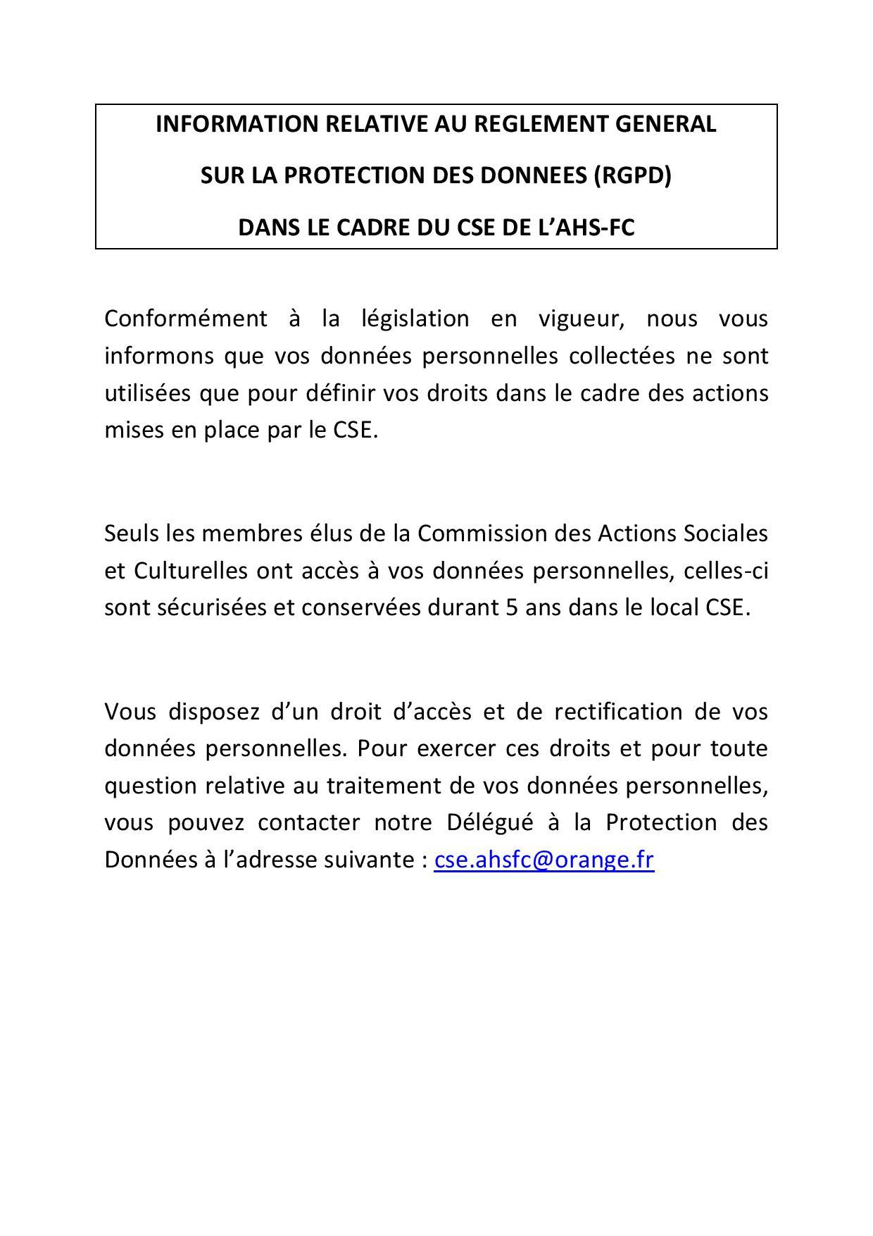 Information relative au reglement general page 3