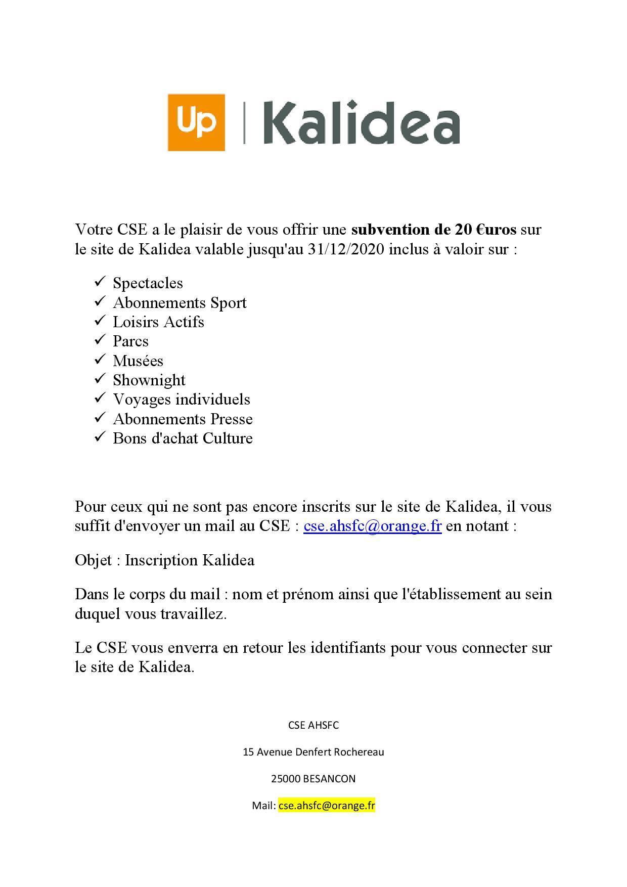Votre cse a le plaisir de vous offrir une subvention de 20 € page 2